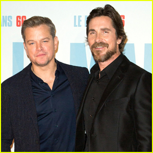 Matt Damon & Christian Bale Buddy Up for 'Ford v Ferrari' Premiere in Paris