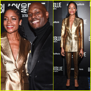 Naomie Harris Dazzles in Gold for for 'Black & Blue' Premiere with Tyrese Gibson