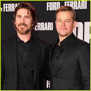 Christian Bale & Matt Damon Suit Up for 'Ford v Ferrari' Premiere