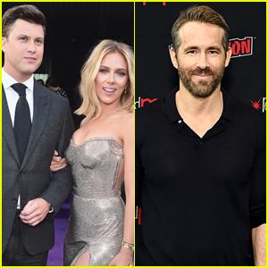 Here S How Colin Jost Scarlett Johansson S Ex Ryan Reynolds Got Along On Snl Set Colin Jost Ryan Reynolds Scarlett Johansson Just Jared