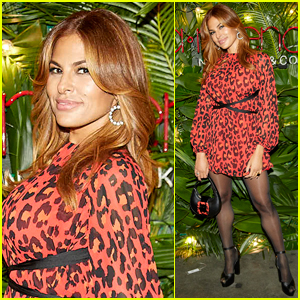 Eva Mendes Wows in Red Animal-Print Dress Celebrating Holiday Collection with New York & Company!