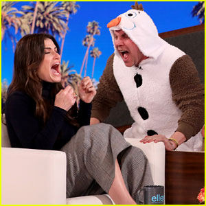 Idina Menzel Gets Scared By a Human Olaf on 'Ellen' (Video)