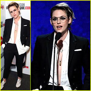 Kristen Stewart Wears Her Shirt Unbuttoned While Honoring Pal Charlize Theron