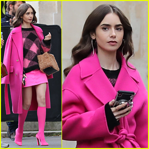 Lily Collins Films More Scenes for 'Emily in Paris' In Bright Pink