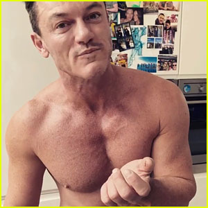 Shirtless Luke Evans Takes a Bite Out of Himself (Video)