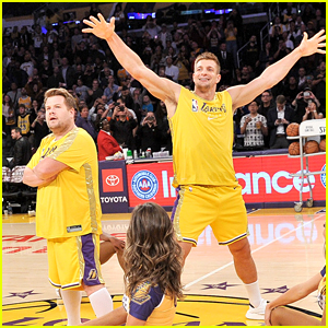 James Corden & Rob Gronkowski Hilariously Dance with Laker Girls at NBA Halftime! (Video)