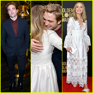 Robert Pattinson & Olivia Wilde Hug It Out at HFPA's Pre-Globes Celebration!