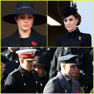 Meghan Markle, Kate Middleton & Princes Harry & William Join Queen Elizabeth & Royal Family for Remembrance Sunday