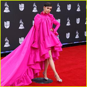 Sofia Carson Stuns In Gorgeous Pink Gown at Latin Grammys 2019