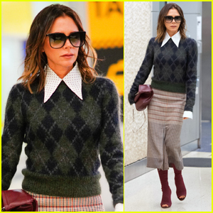 Victoria Beckham Struts Her Way Through JFK Airport in Chic Outfit