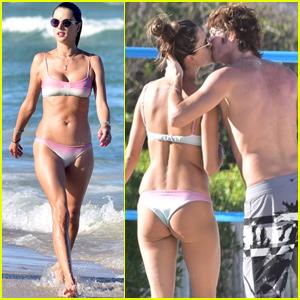 Alessandra Ambrosio & Boyfriend Nicolo Oddi Show Some PDA While Beaching in Brazil