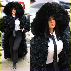 Cardi B Makes Huge Statement With Her Hooded Feathered Coat at Queens Court Appearance