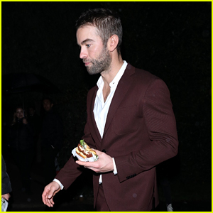 Chace Crawford Snacks on Shake Shack at Producer Jennifer Klein's Holiday Party!