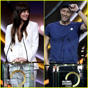 Dakota Johnson & Chris Martin Make Appearances at Global Citizen Prize Event!