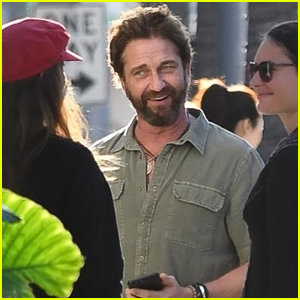 Gerard Butler Shares a Laugh with Fans While Arriving at Lunch