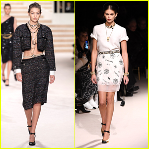 Gigi Hadid & Kaia Gerber Strut Down The Runway For Chanel Metiers d'art Fashion Show