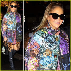 Jennifer Lopez Looks So Chic in Colorful Coat at NBC Studios