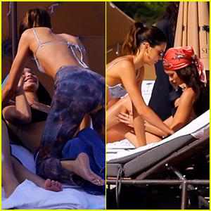 Bella Hadid & Kendall Jenner Have Fun & Get Flirty in Bikinis in Miami