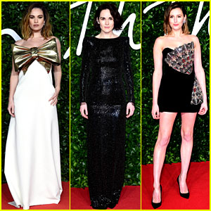 Lily James & Former 'Downton Abbey' Co-Stars Attend Fashion Awards in London!