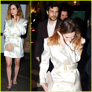 Lily James & Actor Max Ianeselli Leave Fashion Awards After Party Together (Photos)