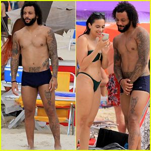 Brazilian Soccer Star Marcelo Vieira Jr. Flaunts His Fit Body at the Beach With His Family