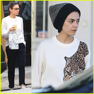Mila Kunis Wears Glasses During Errands & a Coffee Stop in Los Angeles
