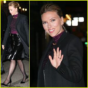 Scarlett Johansson Smiles Wide While Arriving at 'Colbert' Studio