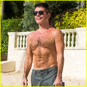 Simon Cowell Goes Shirtless at the Beach on Vacation in Barbados