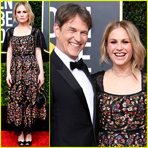 Anna Paquin Goes for Floral Look at Golden Globes 2020 With Stephen Moyer