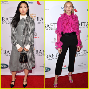 Awkwafina & Jodie Comer Arrive in Style for BAFTA Tea Party