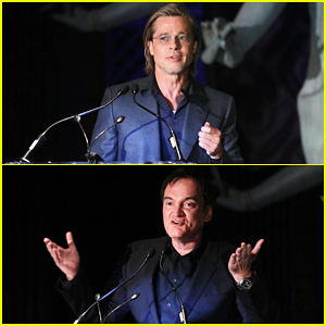 Brad Pitt Jokes That Quentin Tarantino Is the Only Guy He Knows 'Who Needs Cocaine To Stop Talking' at NYFCC Awards!