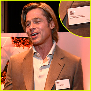 People Are Loving These Photos of Brad Pitt Wearing a Name Tag at a Hollywood Event