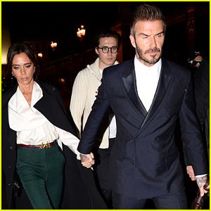 David & Victoria Beckham Bring Son Brooklyn With Them To Dior Men Fashion Show