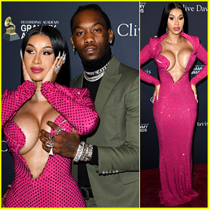 Cardi B Wears Revealing Pink Dress for Pre-Grammys Party with Husband Offset