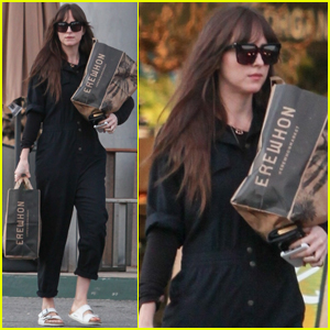 Dakota Johnson Wears Black Coveralls While Grocery Shopping