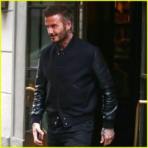 David Beckham Looks Suave in All Black for Lunch in Milan