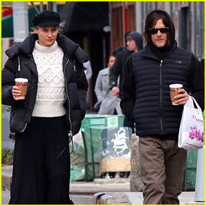 Diane Kruger & Norman Reedus Pick Up Coffee To Go While Running Errands Together
