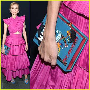 Diane Kruger Carried A Vintage Travel Inspired Poster Clutch For 'Thelma & Louise' Screening