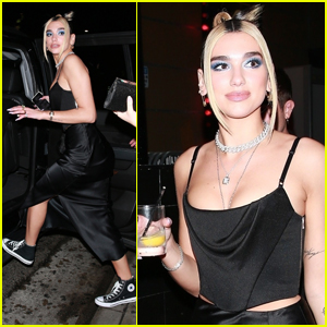 Dua Lipa Wears Silk Skirt & Sneakers for Grammys After-Party