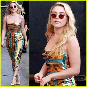 Florence Pugh Looks Effortlessly Chic While Arriving at 'Kimmel'