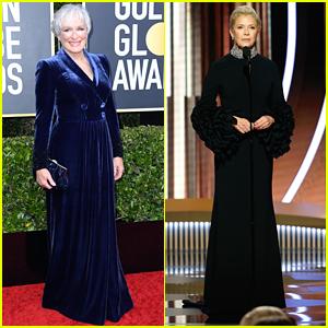 Glenn Close Annette Bening Glam Up For Golden Globes 2020 2020 Golden Globes Annette Bening Glenn Close Golden Globes Just Jared
