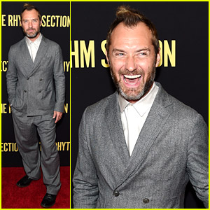 Jude Law Attends 'Rhythm Section' Premiere in an Oversized Suit