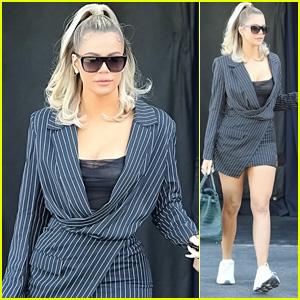 Khloe Kardashian Looks Cute in a Pinstripe Blazer While Filming at the Studio