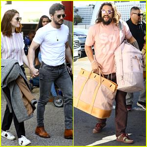 'GOT' Stars Kit Harington, Rose Leslie, & Jason Momoa Fly Off After the Golden Globes!