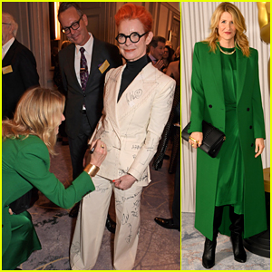 Laura Dern Signs Sandy Powell's Suit at Academy Awards Reception in London