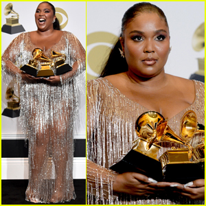 Lizzo Dazzles in Silver While Posing with Her Grammy Awards!