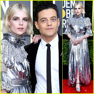 Lucy Boynton Shimmers Alongside Rami Malek at Golden Globes 2020