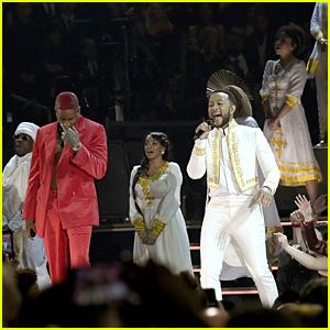 Meek Mill, DJ Khaled, Roddy Ricch, YG & Kirk Franklin Perform Nipsey Hussle Tribute at Grammys 2020