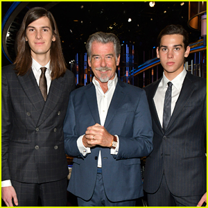Pierce Brosnan Joins Sons Dylan & Paris For Golden Globes Red Carpet Roll Out