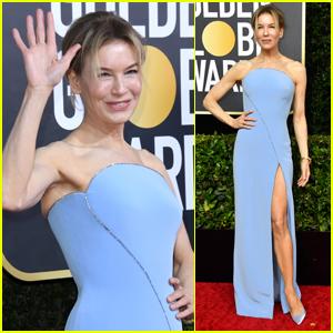 Renee Zellweger Shows Off Some Leg at Golden Globes 2020